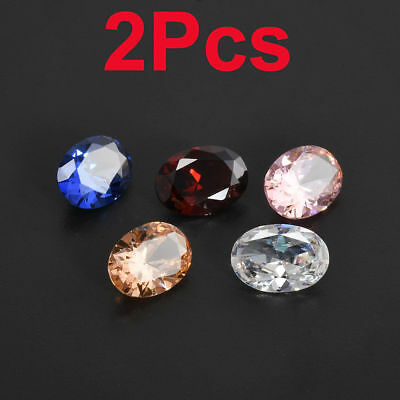 New 2Pc Zircon Gems Chromatic Loose Oval Cut Natural Dazzling Gemstones Jewelry