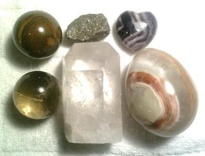 6  Stones - Crystal Ball, Pyrite, Tiger's Eye,  Hematite, Honey Onyx Egg #