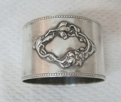 Antique Silverplate Napkin Ring Raised Floral Monagram Spot w Beaded Edge T73
