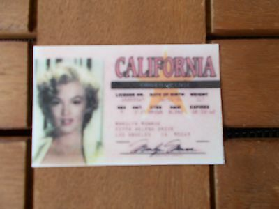 Marilyn Munroe replica copy of her drivers licence