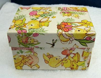 Vintage 50-60's  Easter Candy Egg Box w Great Paper Retro Bunnies CUTE!