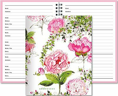 Large Telephone and Address Book Pink White Floral Design Rose Women Girl Gift