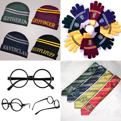 Harry Potter Cosplay Scarf Tie Glasses Gryffindor Slytherin Hufflepuff Ravenclaw