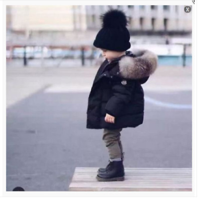 Kids Baby Boys And Girls Winter Coat Big Fur Collar Down Hooded Parka Jacket NEW