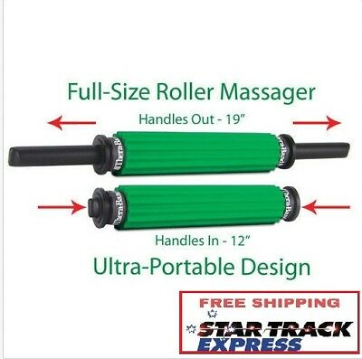 NEW TheraBand Roller Massager - Portable Muscle Roller w/ Retractable Handles