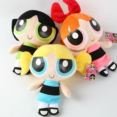 "3Pcs 8"" Powerpuff Girls Doll 1999 Cartoon Network Plush Kid Toy Birthday Gift"