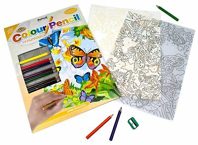 Royal & Langnickel Colour Pencil by Numbers Butterflies Designed Painting Set