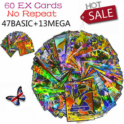 New 60pcs Pokemon EX Card 13 MEGA+47 Basic Flash Trading Poke Cards Venusaur UK