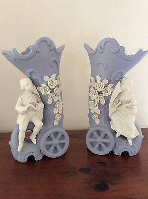 Antique Pair JASPER Ware Mantle Vases