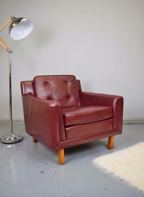 Mid Century Vintage Retro Swedish Burgundy Leather Lounge Arm Chair 1970s