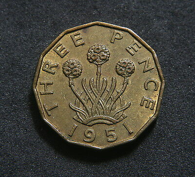1951 Threepence GVF/AEF Traces of Lustre