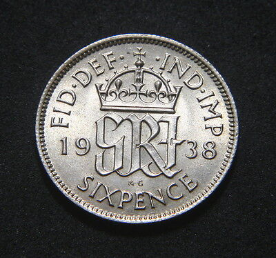 George VI 1938 Sixpence High UNC