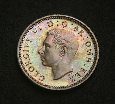 George VI 1950 Proof Sixpence Light Rainbow Toning on Obverse