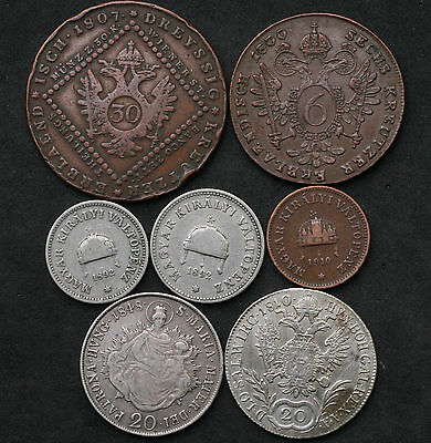 1800-1910 Austria & Hungary Coins Incl Silver & some Key Dates 2, 10, 20 Filler
