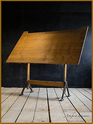 Architects Drawing Board - Salvage Industrial Loft Antique - Artists Desk Easel