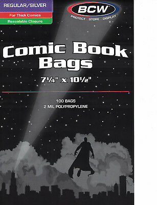 Pack of 100 Bags BCW Resealable Silver Comic 2 Mill Poly. 7 1/4 x 10 1/2 (#864)
