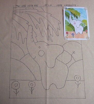 Rug Hooking Pattern on Monks Cloth ~ ELEPHANT BABY