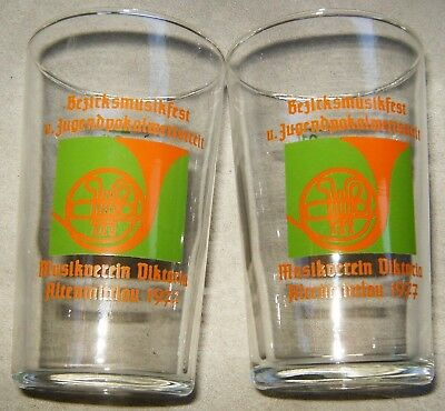 "2 ~ Vtg Clear Glass German Music Festival Souvenir Shot Glass 3 3/8"" 1977 Juice"