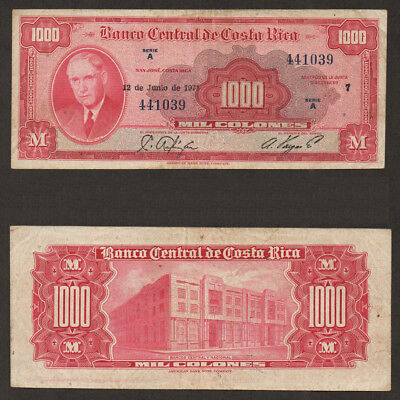 Costa Rica 1000 Colones 1974 Banknote Extremely Fine EX Series A
