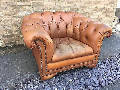 Distressed Brown Chesterfield Chair