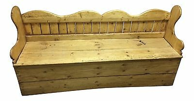 Antique Pine Porter Bench With Storage
