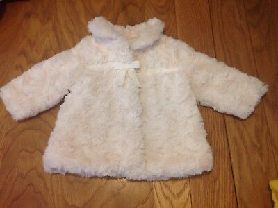 Baby Girls Fur Fluffy Winter Coat Jacket Size 3-6 Months
