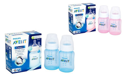 Avent PHILIPS 2X Bottle 260ML PINK / BLUE Classic + / Natural