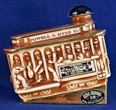 1968 Ezra Brooks Powell & Hyde Trolly Car Decanter Brown Tint (Empty)