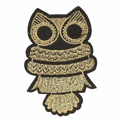 Gold Owl (Iron on) Embroidery Applique Patch Sew Iron Badge