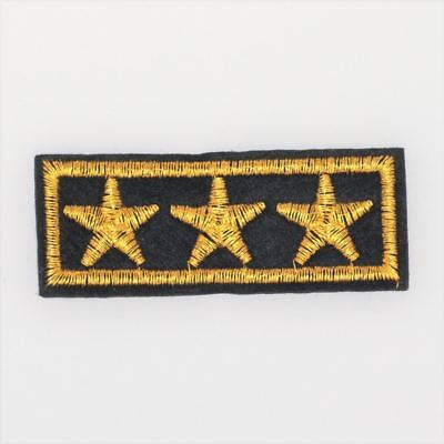 3 Star Army Badge (Iron On) Embroidery Applique Patch Sew Iron Badge