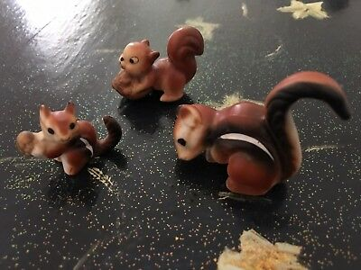 Lot of 3 Vintage Antique Porcelain Squirrel Chipmunk Miniature Figurine Figures