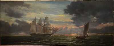 Fine Large Antique 19th Century Sunset Seascape Oil On Canvas Painting