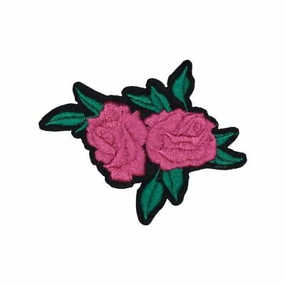Double Pink Rose Flower with Leaves (Iron On) Embroidery Applique Patch