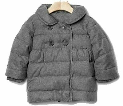 NEW Baby GAP Herringbone Quilted Puffer Pea Coat Gray~Toddler Girl~18-24 months