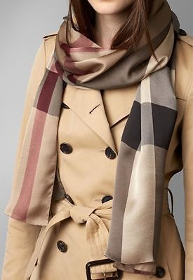 BURBERRY Italy Lightweight Check 100% Silk Scarf Smoked Trench RRP £275