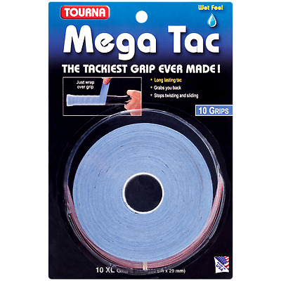 Tourna Mega Tac Tennis Racket Overgrip 10-Pack Grip Blue (Buy more Save more!)