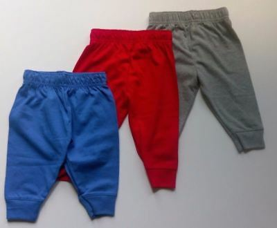 New Infant Pants Jersey Jogger Unisex Blue, Gray, Red Variety of Sizes 0-3 Mths