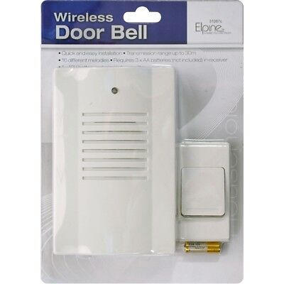 30M RANGE WIRELESS DOOR BELL CORDLESS BATTERY OPERATED CHIME 16 MELODIES 31267c