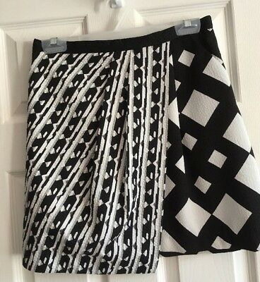 758844977c68a NWOT Peter Pilotto for Target Black White Asymmetrical Lined Wrap Skirt Sz 6