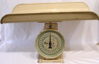 Vtg Hanson Baby Scale w Tray Decal Stork on Dial Baby Imagery 1940s