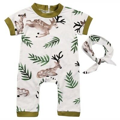 Baby Girl Boy Unisex Romper Green Soft Zip White Bodysuit Deer Animal Headband