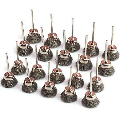 10Pcs 25mm Stainless Steel Wire Cup Brush Cleaner Rotary Tool Mandrel About 3mm