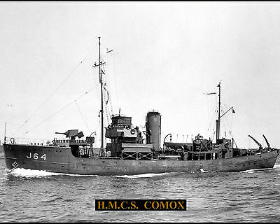 Royal Canadian Navy Minesweeper Hmcs Comox J64 Photo With Bonus Stat Sheet