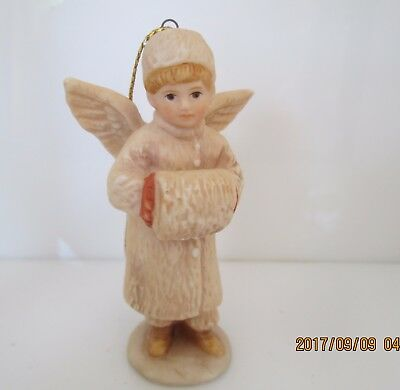 Schmid 1986 B. Shackman Boy Muff Angel Figurine Porcelain Ornament