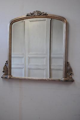 Large Antique French Style Silver Gilt Overmantle Beveled Mirror  1.3 x 1.2m
