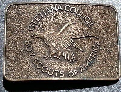 Boy Scouts Of America Otetiana Council Solid Brass Belt Buckle American Eagle