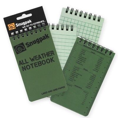 Snugpak All Weather Note Book - 2 Sizes Olive Or Tan Grid And Lined Paper