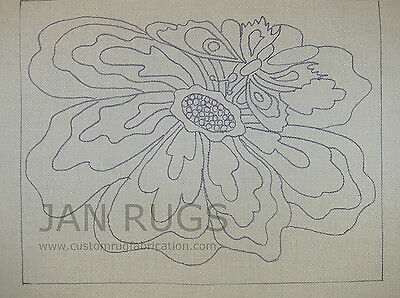 Rug Hooking Pattern on Monks Cloth ~ BUTTERFLY FLOWER