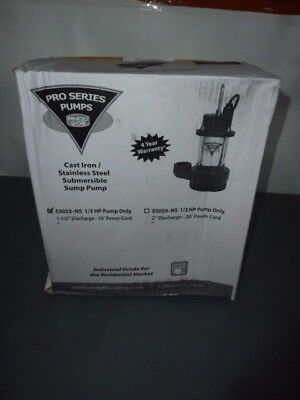 Glentronics S3033-NS S3033-Ns Sump Pump Cast/Stainless Steel 1/3 Hp 3 Year NEW