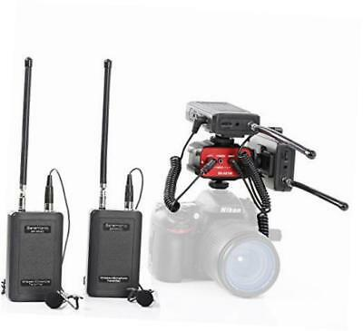 dual wireless vhf lavalier microphone bundle with 2 transmitters, 2 receivers